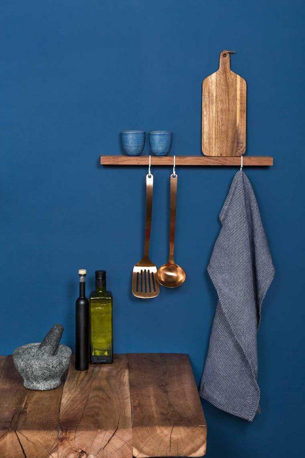 Figr1 Wooden Wall Shelf Jatoba with hooks