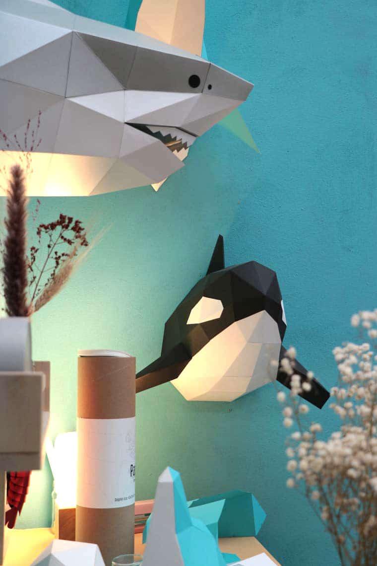 Assembli 3D paper animal head orca shark