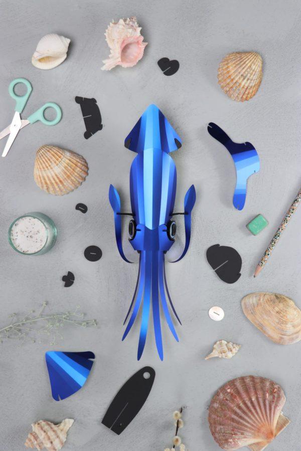 Assembli 3D Paper Squid Cobalt Blue Metallic