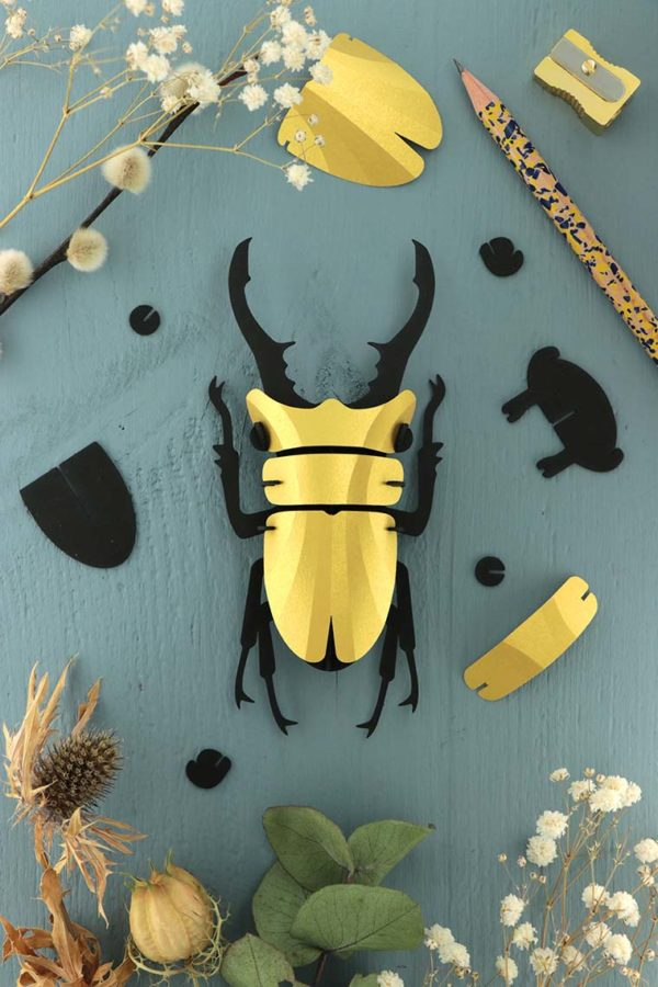 Assembli 3d paper insect stag beetle gold