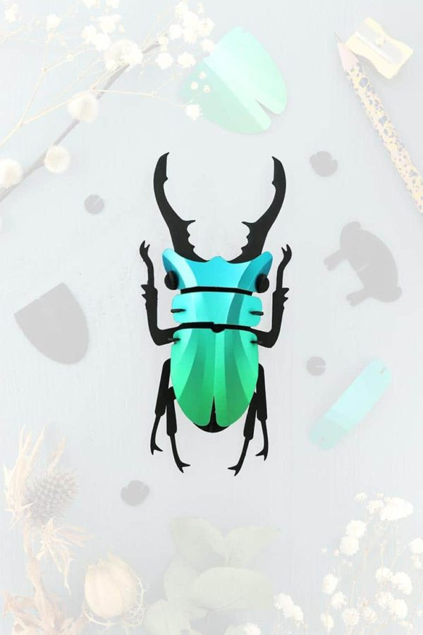 Assembli 3d paper insect stag beetle green