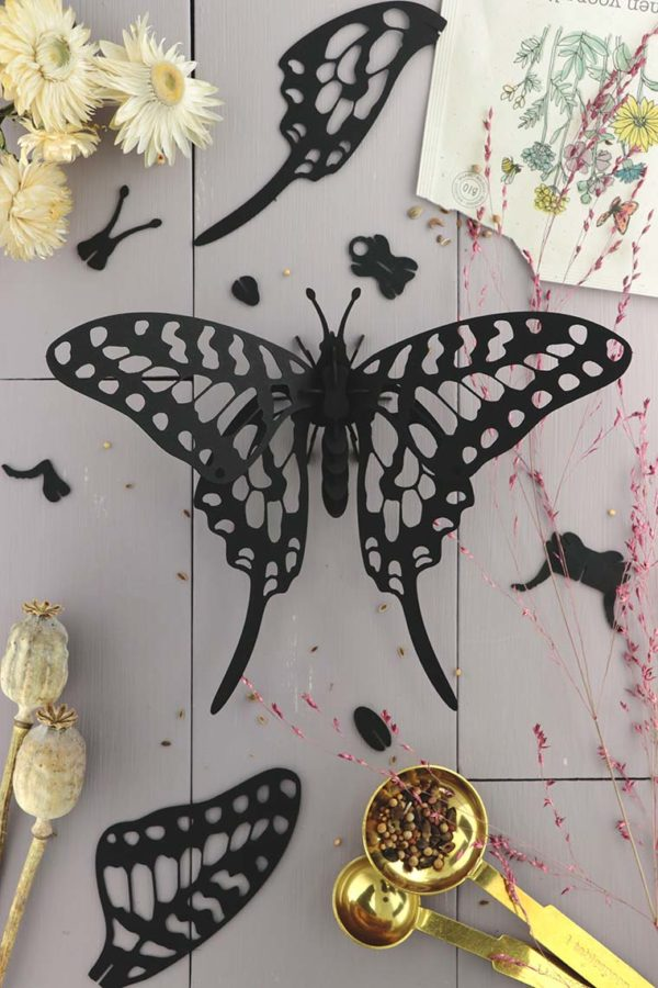 Assembli 3d paper insect swordtail butterfly black