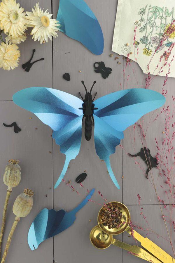 Assembli 3d paper insect swordtail butterfly blue