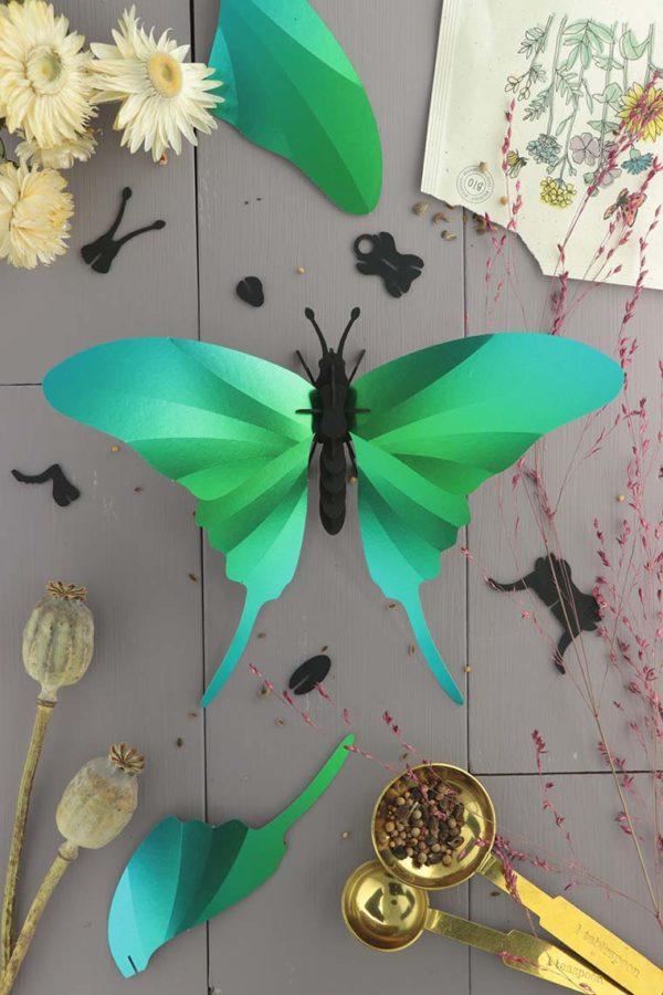 Assembli 3d paper insect swordtail butterfly green