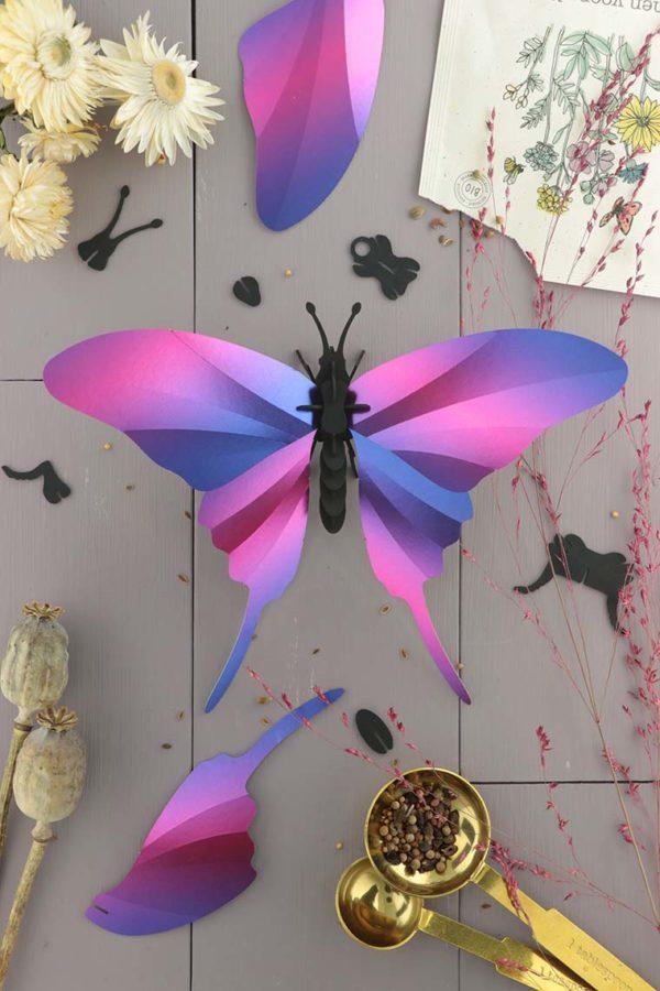 Assembli 3d paper insect swordtail butterfly purple