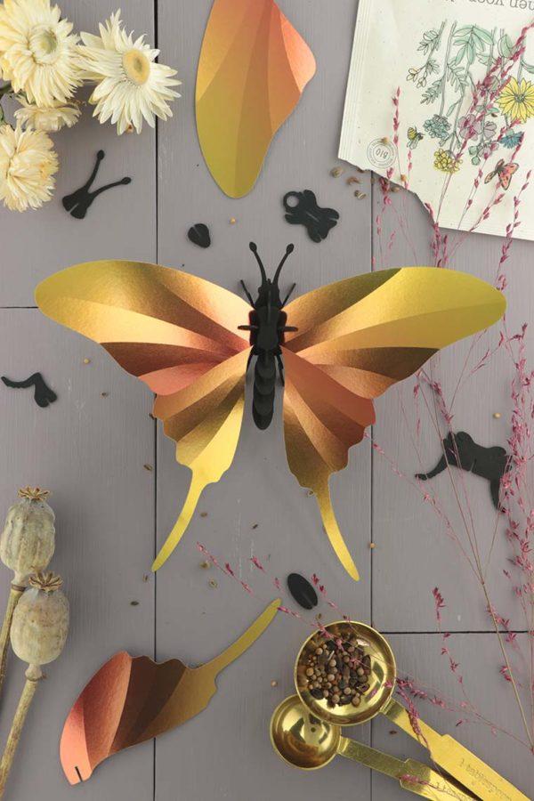 Assembli 3d paper insect swordtail butterfly sunset yellow
