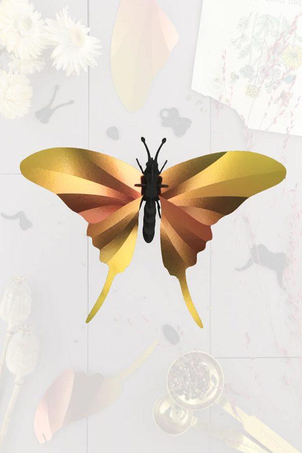 Assembli 3d paper insect swordtail butterfly