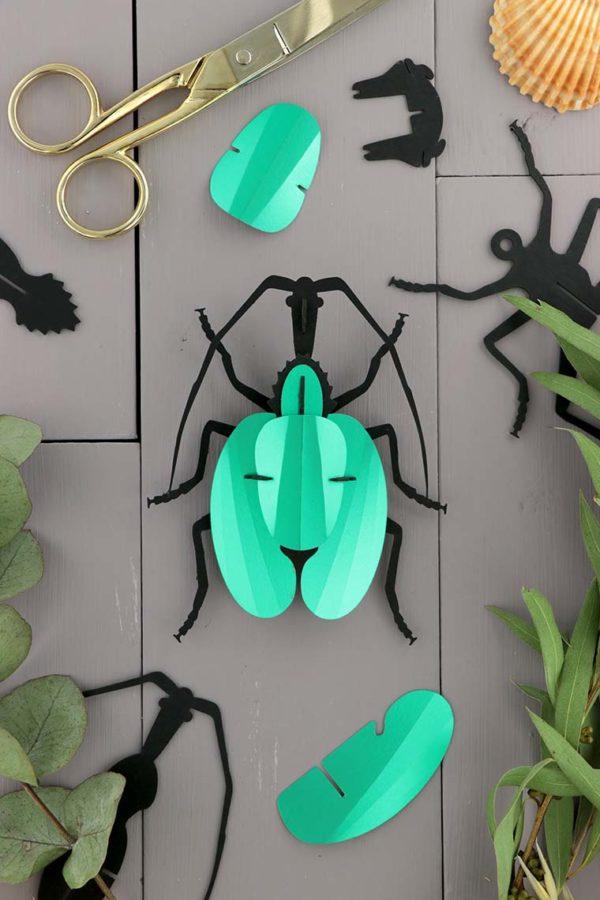 Assembli 3D Paper Violin Beetle Insect Emerald Green