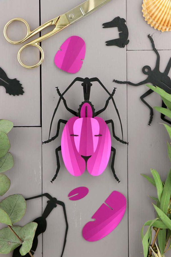 Assembli 3D Paper Violin Beetle Insect Pink