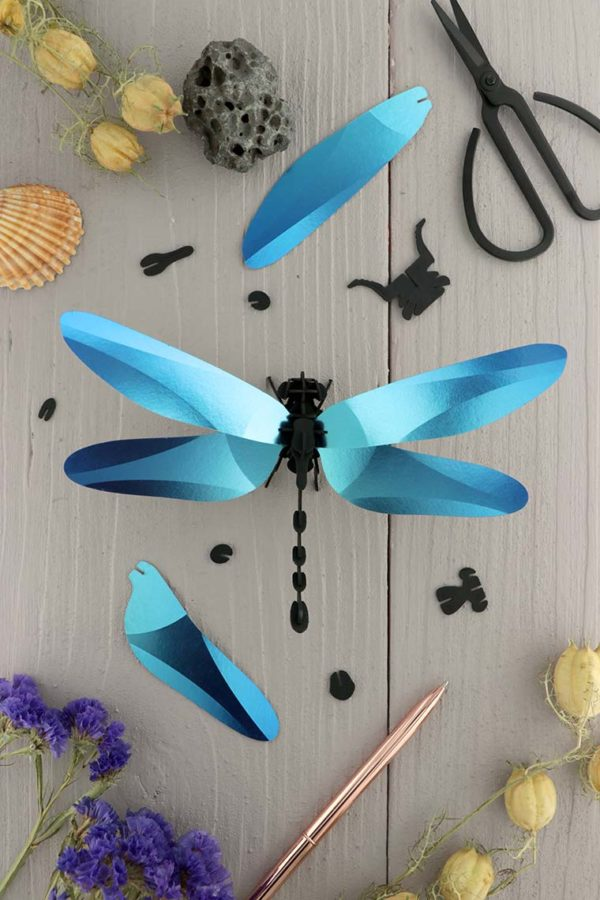 Assembli 3d paper insect dragonfly blue