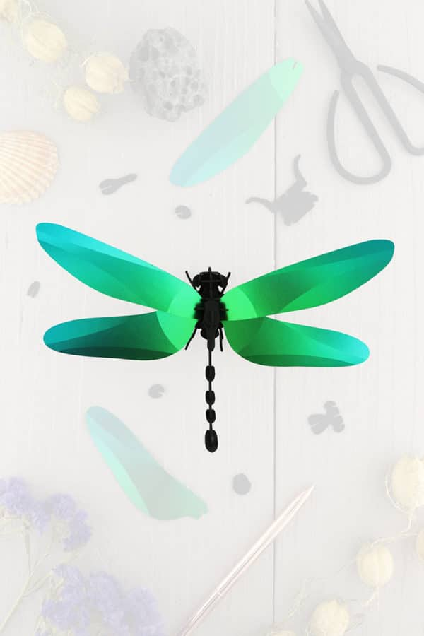 Assembli 3d paper insect dragonfly green