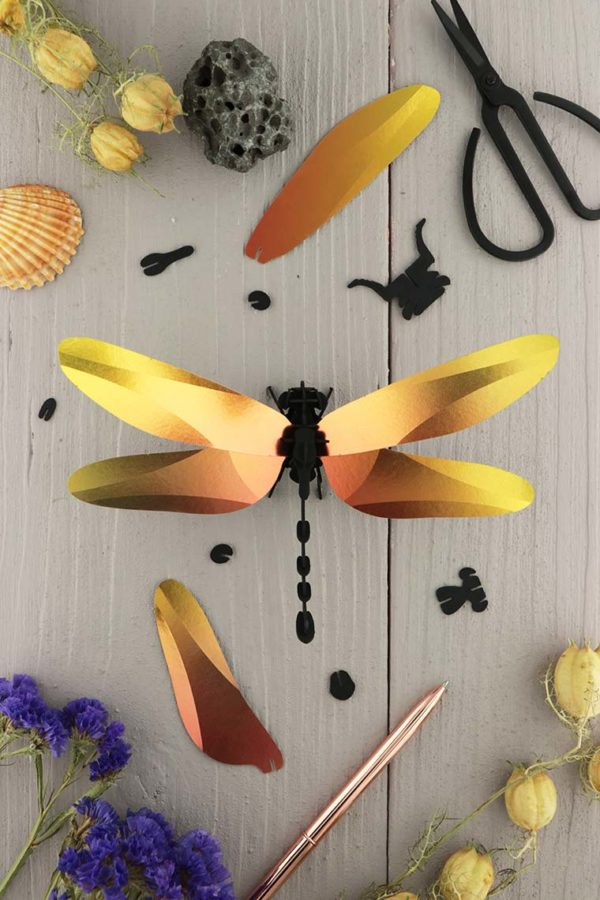 Assembli 3d paper insect dragonfly yellow