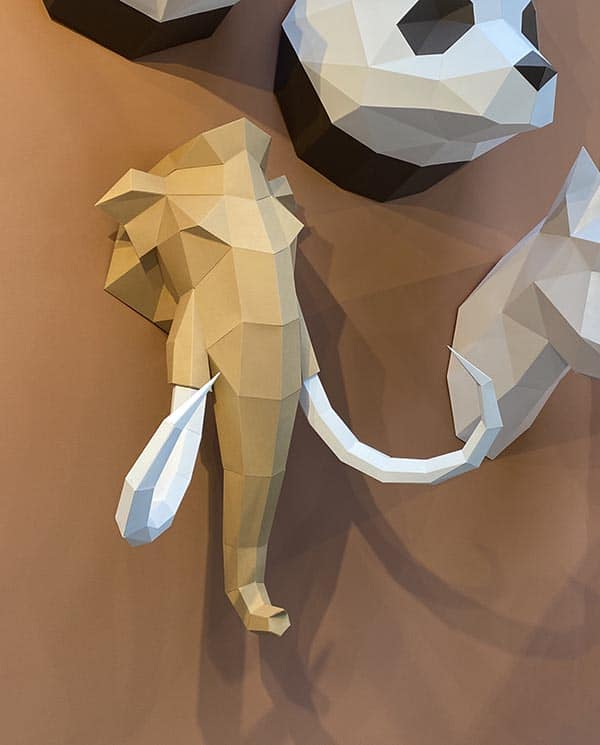Assembli 3d paper animal head mammoth